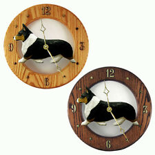 Welsh Corgi Pembroke Wood Wall Clock Plaque Tri