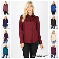 Women's Classic Cotton Stretch Long Sleeve Button Down Blouse Dress Shirt S-3X