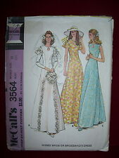 1973 McCALL'S #3564-LADIES GORGEOUS BRIDAL or EVENING DRESS w/KEYHOLE PATTERN 10