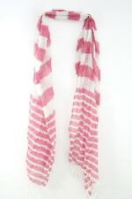 LADIES WHITE/PINK STRIPED WINTER THEME CUTE PLAIN SIMPLE ELEGANT SCARF(MS9)