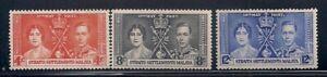 Straights S.  1937   Sc # 235-37   Coronation   MNH  OG   (5041)