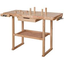 Établi en Bois Rangement Outils Atelier Bricolage Table Garage 117x47,5x83cm