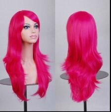 Fuchsia 70cm Women Curly Wavy Hair Wig Fashion Costume Party Anime Cosplay