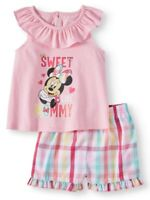 NEW DISNEY MINNIE MOUSE BABY PINK OUTFIT SET RUFFLE TOP SHORTS SWEET LIKE MOMMY