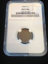 1908 S INDIAN HEAD CENT NGC AU 53 BN