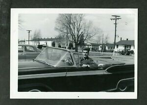 Vintage Car Photo Handsome Man in Uniform & 1959 Ford Convertible Skirts 403054
