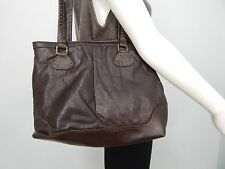 The Sak Dark Brown Soft Pebbled Leather Satchel Large Shoulder Bag Purse