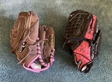 "2 Little Girls Softball Gloves Mizuno GPP1007 10"" & Rawlings FP105 10.5"""