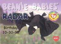 TY Beanie Babies BBOC Card - Series 1 Birthday (BLUE) - RADAR the Bat - NM/Mint