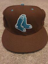 """Rare MLB Boston RedSox """"green Socks"""" New Era Flat Brim Hat Men Brown Sz 7 3/8"""