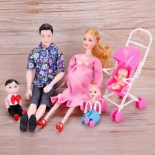 6 Pcs Family Pregnant Doll Mom Baby Dad Kids Barbie Dolls Set