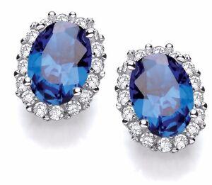 Sterling Silver Stud Earrings Sapphire Blue Cubic Zirconia Crystal Stones J JAZ