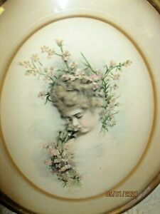 ANTIQUE HAND TINTED PRINT OF BEAUTIFUL YOUNG GIRL  W/ FLOWERS  IN ANTIQUE FRAME