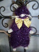 Hand Knitted-* *CUTE  RAT*GLITTER*SPARKLEY *  Purple & Gold* Nice Gift