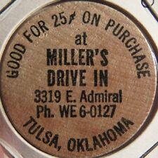 Vintage Miller's Drive In Restaurant Tulsa, OK Wooden Nickel - Token Oklahoma