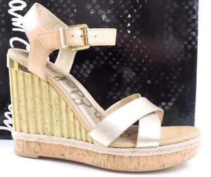 Sam Edelman Clay Ankle Strap Platform Wedge Sandal Natural /Light Gold Size 10.5