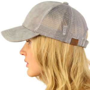 CC Everyday Mesh Trucker Faux Leather Plain Blank Baseball Cap Hat Solid Lt Gray