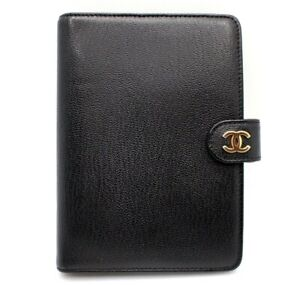 AUTHENTIC CHANEL CC LOGO AGENDA DAY PLANNER COVER BLACK GOLD LEATHER