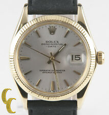 Rolex ♛ 14k Yellow Gold Men's Oyster Perpetual Date #1503 w/ Black Leather Band