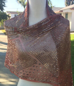 Pink with Silver Vintage Assuit Shawl from Egypt - Belly Dance Tribal