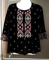 WOMEN'S STYLE & CO BLACK EMBELLISHED EMBROIDERED STRETCHY LINED TOP PETITE M
