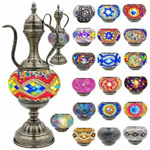 Handcrafted Mosaic Turkish Teapot Lamp Moroccan Glass Table Desk Bedside Lamps