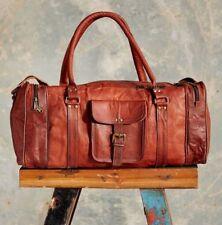 New Men's genuine Brown Leather Retro vintage Large Retro Duffle Travel Gym Bag