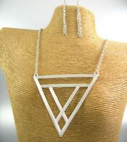 Texture Silver Triangle Pendant Metal Chain Necklace Earring Fashion Women