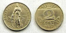 VARIANTE 2 PESETAS 1937 GIJON VARIANTE 1ª HOJAS EN VOLUMEN Y NUMERO VF+/MBC+