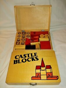 VINTAGE CASTLE BUILDING BLOCKS IN WOODEN BOX with LATCH CLOSURE
