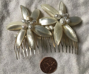 Genuine Pearl Large Flower Hand Made Wire Haircomb Wedding Bride NEW