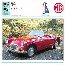 MG A Twin Cam 4 Cyl. Cabriolet Sport 1958 GB/UK CAR VOITURE CARTE CARD FICHE