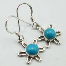 """Pure Silver Ladies' Earrings 1.2"""" Round Cabochon Turquoise Gemset Jewelry, 925"""