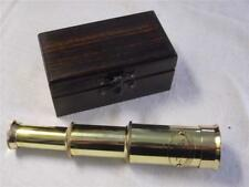 ANTIQUE VINTAGE VICTORIAN STYLE SMALL BRASS EXTENDING TELESCOPE IN WOODEN BOX