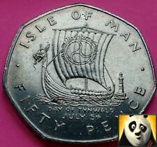 1979 ISLE OF MAN IOM 50p Fifty Pence Viking Long Ship Day of Tynwald AA Die Mark