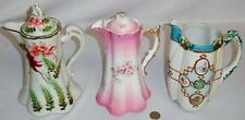 Lot of 3 Antique Hand Painted Chocolate Pitchers Lot 222