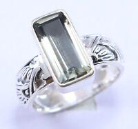 Green amethyst Gemstone Ring Size 6 Women Silver 925 Sterling silver jewelry