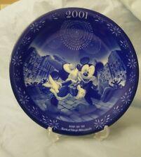 "Japan Disney Mickey Minnie blue and white plate  Bank of Tokyo - Mitsubishi 8"""