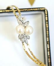 Edles vintage Armband aus 585/000 Gelbgold  + Platin Perlen und Diamanten A3077