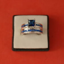 Unbranded Sapphire Round White Gold Filled Costume Rings