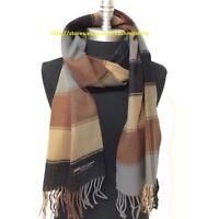 New Men's 100% CASHMERE SCARF Warm Wool SCOTLAND Plaid Check, Black/Brown/Gray