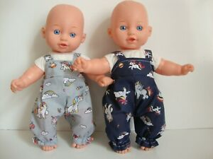"""12"""" Baby dolls clothes unicorn print dungarees handmade to fit 30cm doll"""