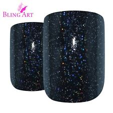False Nails Black GEL French Squoval 24 Fake Medium Bling Art Tips 2g Glue