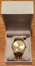 NEW NINE WEST Womens Ladies NW/1578CHGB Champagne Dial Gold-Tone Bracelet Watch