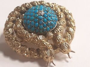 Victorian 15ct Gold Turquoise Diamond Brooch