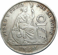 1872 PERU South America 1 SOL Antique Original Silver Peruvian Coin i73785