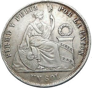 1872 PERU South America 1 SOL Antique Original Silver Peruvian Coin i73785