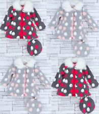 Baby Girls Dress Skirt Coat Hat Party Outdoor Casual Set Winter Padded Fur New
