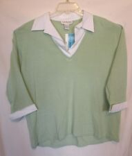 NWT Career Pale Green 3/4 Sleeve Classic Collar Sweater Plus Size 2X 3X 22 24