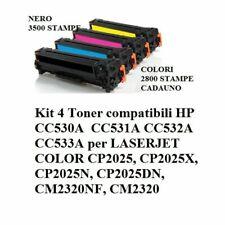 4 TONER PER HP LASERJET COLOR CC530A 304A CP2025N CP2025DN CP2020 CM2320N CM2320